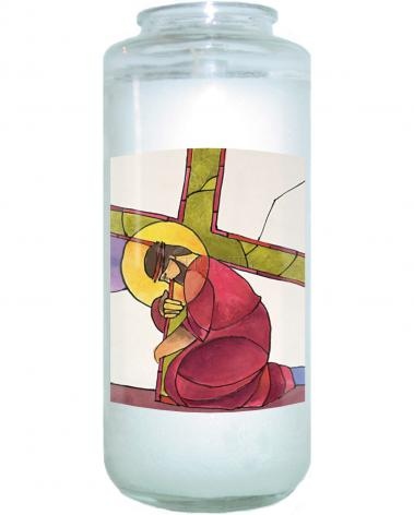 Devotional Candle - Stations of the Cross - 03 Jesus Falls the First Time by M. McGrath