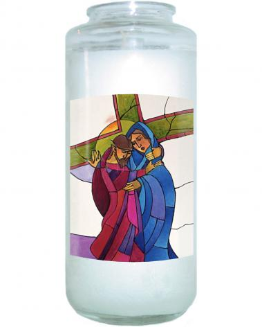 Devotional Candle - Stations of the Cross - 04 Jesus Meets His Sorrowful Mother by M. McGrath