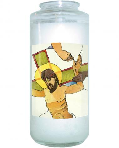 Devotional Candle - Stations of the Cross - 11 Jesus is Nailed to the Cross by M. McGrath
