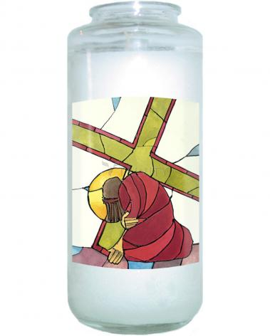 Devotional Candle - Stations of the Cross - 07 Jesus Falls a Second Time by M. McGrath