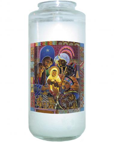 Devotional Candle - Light of the World Nativity by M. McGrath
