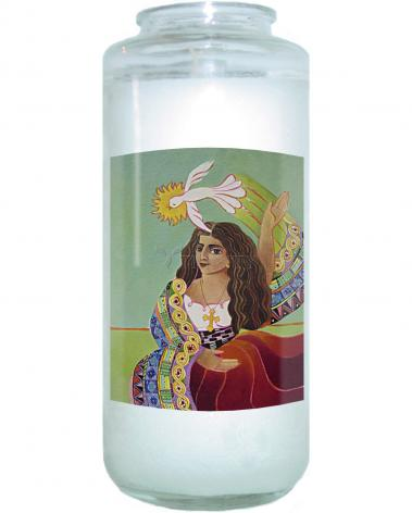 Devotional Candle - St. Mary Magdalene and Holy Spirit by M. McGrath