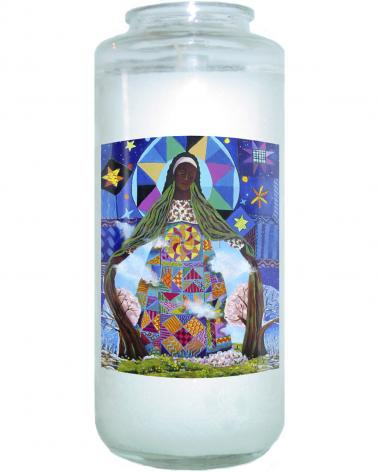 Devotional Candle - Mary, Our Lady of Refuge by M. McGrath