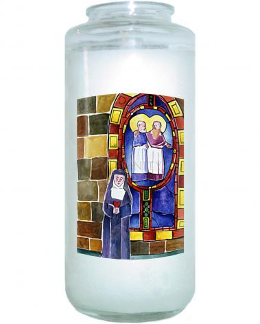 Devotional Candle - St. Margaret Mary Alacoque at Window by M. McGrath