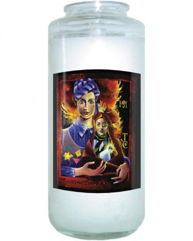 Devotional Candle - Madonna of the Holocaust by M. McGrath