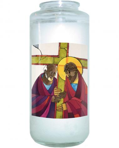 Devotional Candle - Stations of the Cross - 05 Simon Helps Jesus Carry the Cross by M. McGrath