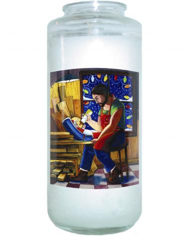 Devotional Candle - St. Joseph and Son's Christmas by M. McGrath
