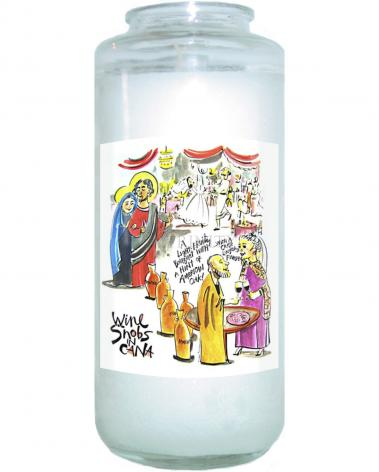 Devotional Candle - Wine Snobs in Cana by M. McGrath