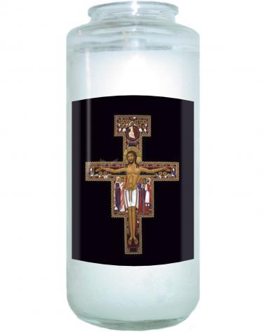 Devotional Candle - San Damiano Crucifix by R. Lentz