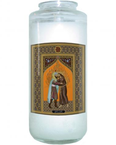 Devotional Candle - St. Francis and the Sultan by R. Lentz