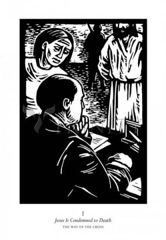 Giclée Print - Traditional Stations of the Cross 01 - Jesus is Condemned to Death by J. Lonneman