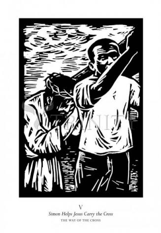 Giclée Print - Traditional Stations of the Cross 05 - Simon Helps Carry the Cross by J. Lonneman