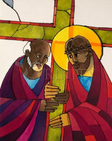 Giclée Print - Stations of the Cross - 5 Simon Helps Jesus Carry the Cross by M. McGrath