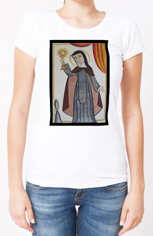 Ladies T-shirt - St. Clare of Assisi by A. Olivas