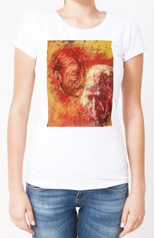 Ladies T-shirt - Heart of Ignatius on Mind of Arrupe by B. Gilroy