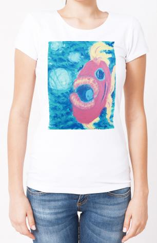 Ladies T-shirt - Fish Blowing Bubbles by B. Gilroy