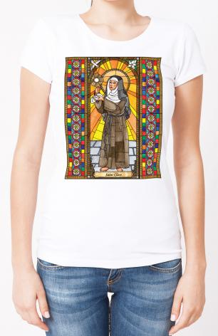 Ladies T-shirt - St. Clare of Assisi by B. Nippert