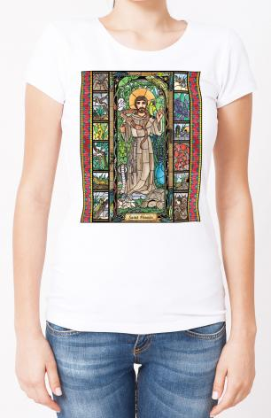 Ladies T-shirt - St. Francis - Patron of Exotic Animals by B. Nippert