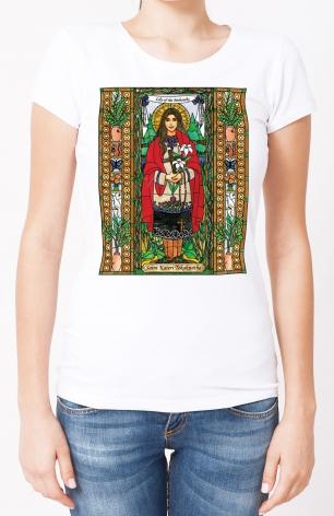 Ladies T-shirt - St. Kateri Tekakwitha by B. Nippert