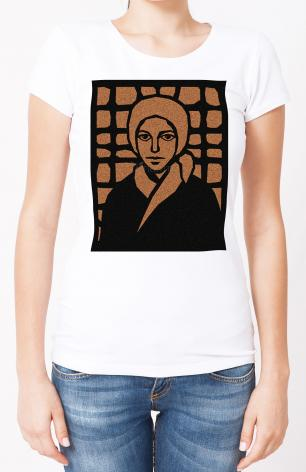 Ladies T-shirt - St. Bernadette of Lourdes - Brown Glass by D. Paulos