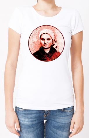 Ladies T-shirt - St. Bernadette of Lourdes - Circle by D. Paulos