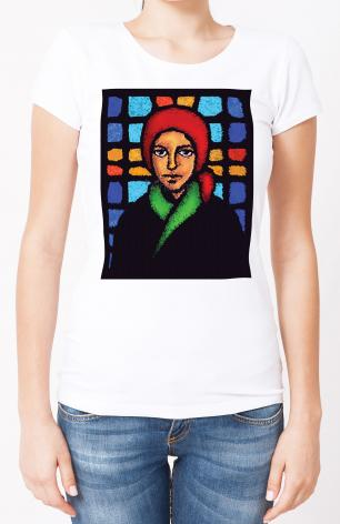 Ladies T-shirt - St. Bernadette of Lourdes - Stained Glass by D. Paulos