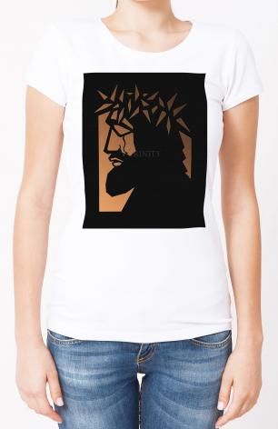 Ladies T-shirt - Christ Hailed as King - Brown Glass by D. Paulos