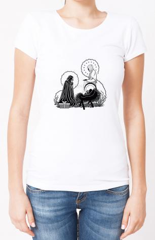 Ladies T-shirt - St. Jeanne Jugan and Infant Jesus by D. Paulos