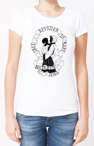 Ladies T-shirt - True Devotion to Mary Began With Jesus by D. Paulos