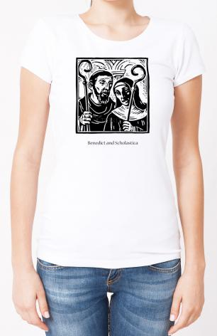 Ladies T-shirt - Sts. Benedict and Scholastica by J. Lonneman