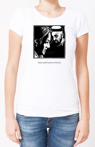 Ladies T-shirt - Sts. Clare and Francis by J. Lonneman