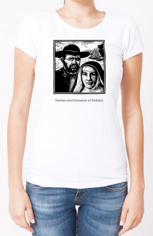 Ladies T-shirt - Sts. Damien and Marianne of Molokai by J. Lonneman
