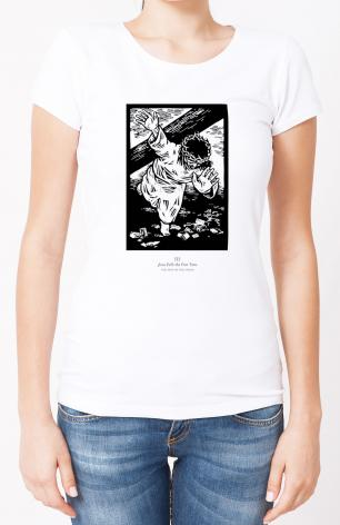 Ladies T-shirt - Traditional Stations of the Cross 03 - Jesus Falls the First Time by J. Lonneman