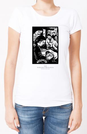 Ladies T-shirt - Traditional Stations of the Cross 13 - The Body of Jesus is Taken From the Cross by J. Lonneman