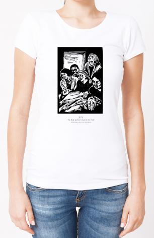 Ladies T-shirt - Scriptural Stations of the Cross 14 - The Body of Jesus is Laid in the Tomb by J. Lonneman
