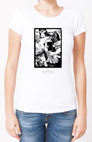 Ladies T-shirt - Scriptural Stations of the Cross 10 - Jesus is Nailed to the Cross  by J. Lonneman