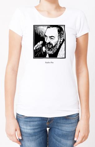 Ladies T-shirt - St. Padre Pio by J. Lonneman