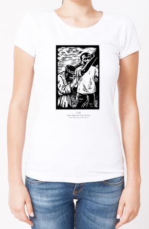 Ladies T-shirt - Scriptural Stations of the Cross 08 - Simon Helps Jesus Carry the Cross by J. Lonneman