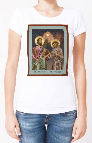 Ladies T-shirt - Sts. Andrew and Francis of Assisi by L. Williams