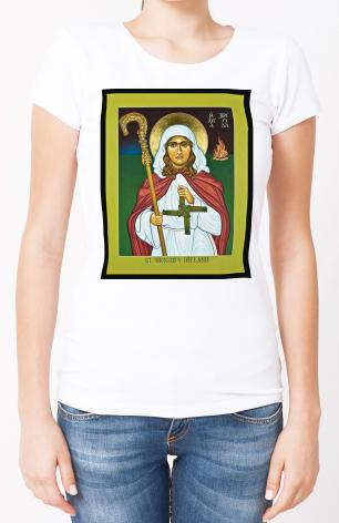 Ladies T-shirt - St. Brigid of Ireland by L. Williams