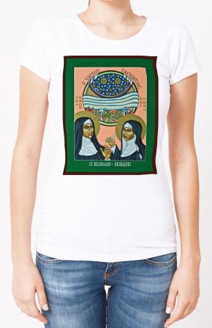 Ladies T-shirt - St. Hildegard of Bingen and her Assistant Richardis by L. Williams