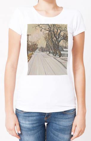 Ladies T-shirt - Christmas Scene: Montrose, CO by L. Williams