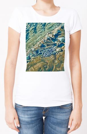 Ladies T-shirt - Shoe Prints on the Bank by L. Williams