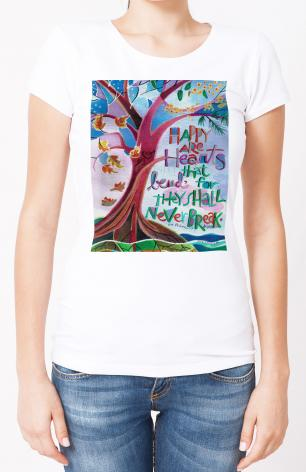 Ladies T-shirt - Happy Are Hearts That Bend by M. McGrath