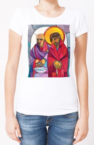 Ladies T-shirt - Stations of the Cross - 1 Jesus is Condemned to Death by M. McGrath