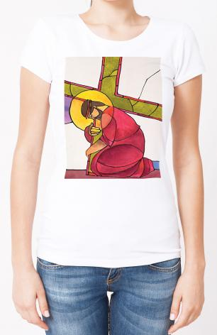 Ladies T-shirt - Stations of the Cross - 3 Jesus Falls the First Time by M. McGrath
