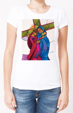 Ladies T-shirt - Stations of the Cross - 4 Jesus Meets His Sorrowful Mother by M. McGrath