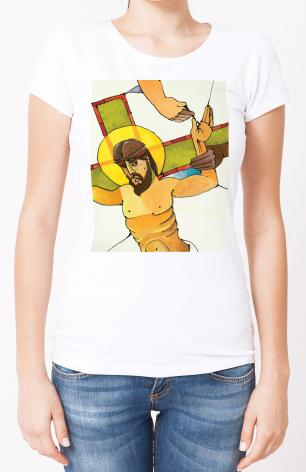 Ladies T-shirt - Stations of the Cross - 11 Jesus is Nailed to the Cross by M. McGrath