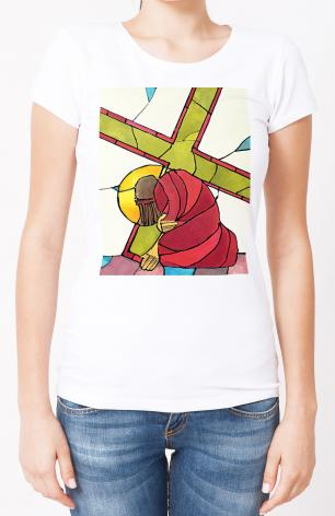 Ladies T-shirt - Stations of the Cross - 7 Jesus Falls a Second Time by M. McGrath