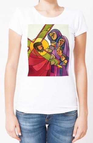 Ladies T-shirt - Stations of the Cross - 8 Jesus Meets the Women of Jerusalem by M. McGrath